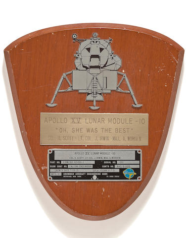 LM IDENTIFICATION PLATE FLOWN TO THE LUNAR SURFACE.
