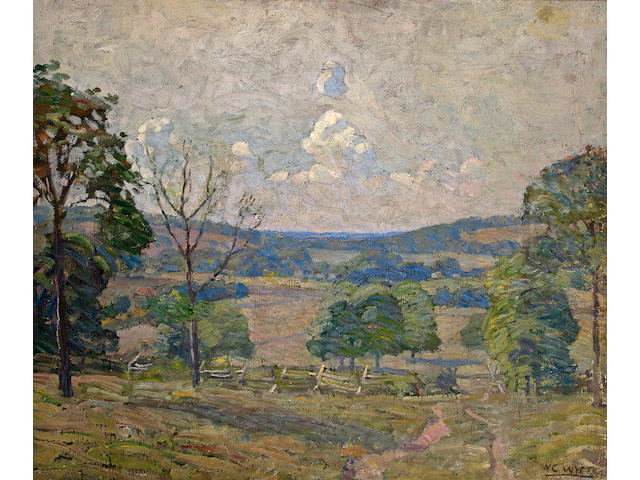 Newell Convers Wyeth (American, 1882-1945) Cart Track at Rocky Hill 25 x 30in