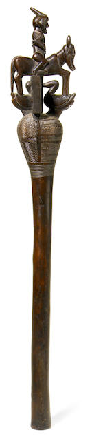 A Songo wood scepter height 21in