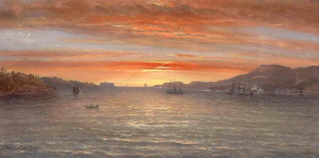 N. Bush, Sunset on the San Francisco Bay, o/c laid down