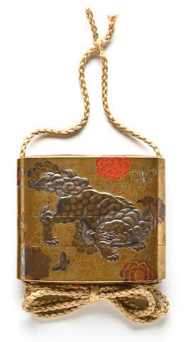 A THREE-CASE LACQUER INRO By Koma Kyuhaku, 19th century