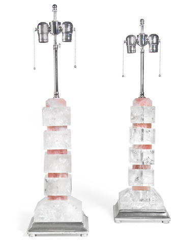 A pair of rock crystal and rose quartz table lamps