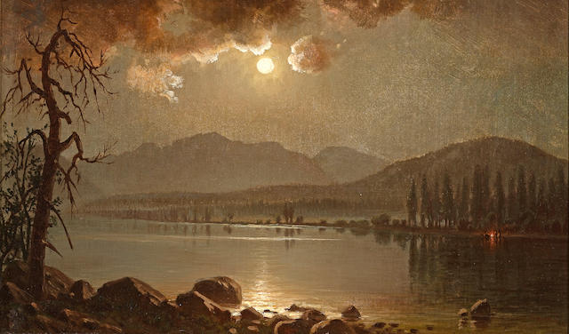 (n/a) William Lewis Marple (American, 1827-1910) Distant Camp Fire 12 x 20in