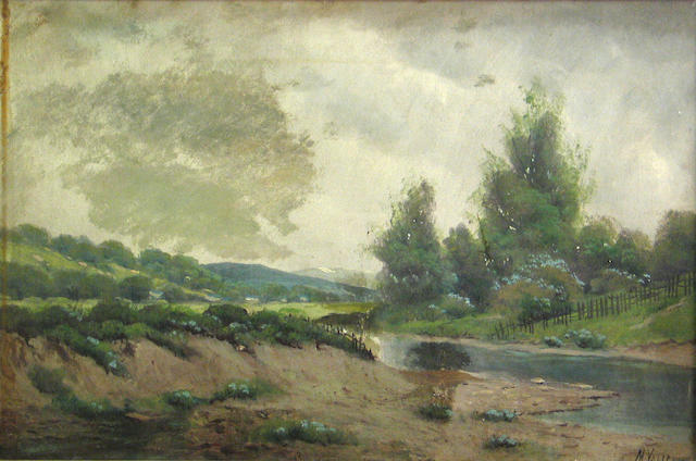 M. Valencia, Stream and fence, oil
