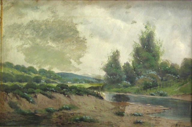 M. Valencia, Stream and fence, oil
