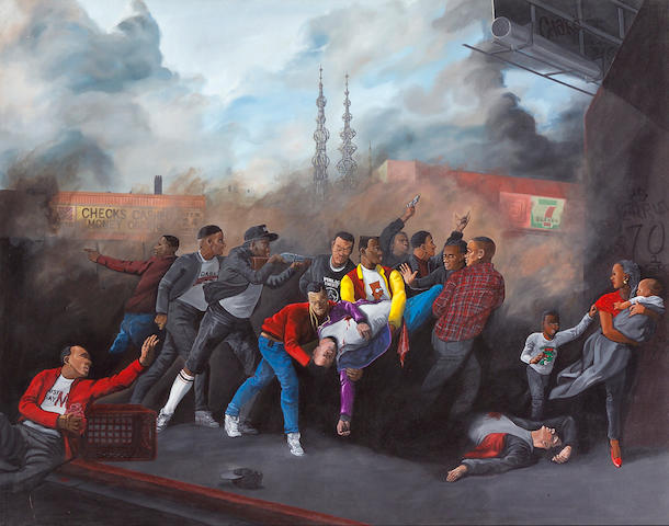 Sandow Birk (American, born 1962) Death in South Central (Bloods), 1990, acrylic on canvas 53 x 68in