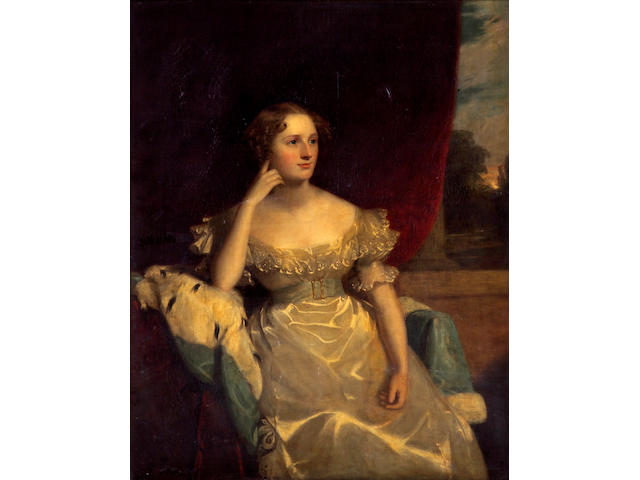 Attributed to Sir Thomas Lawrence (Bristol 1769-1830 London) A portrait of a lady, thought to be Miss Sinclair of Belfast 50 x 40 1/2in (127 x 102.9cm)