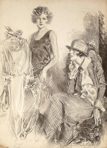 Howard Chandler Christy, charcoal on paper * NY AMERICAN SALE *