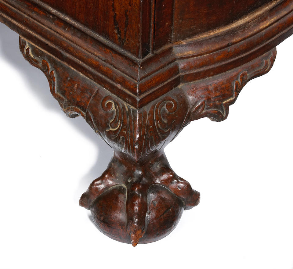 The important Harris family Chippendale mahogany block front chest of drawers  Boston possibly the workshop of George Bright  third quarter 18th century