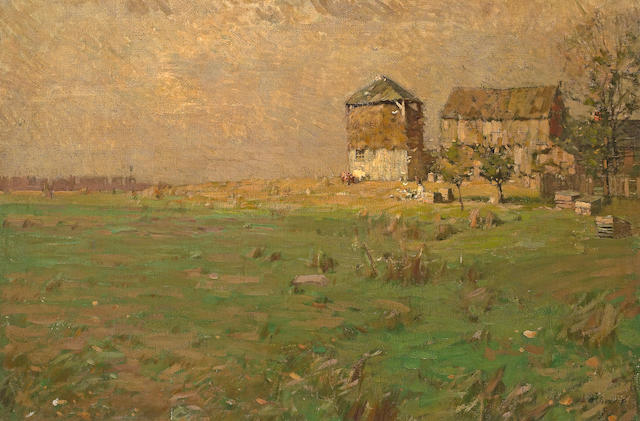 (n/a) William Langson Lathrop (American, 1859-1938) Farm landscape 20 1/2 x 30 1/4in