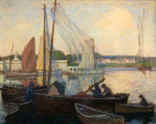 (n/a) Wilson Henry Irvine (American, 1869-1936) Harbor, Concarneau, Brittany 17 1/2 x 22 1/2in