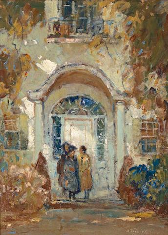 Anthony Thieme (American, 1888-1954) Women in a doorway 16 x 11 3/4