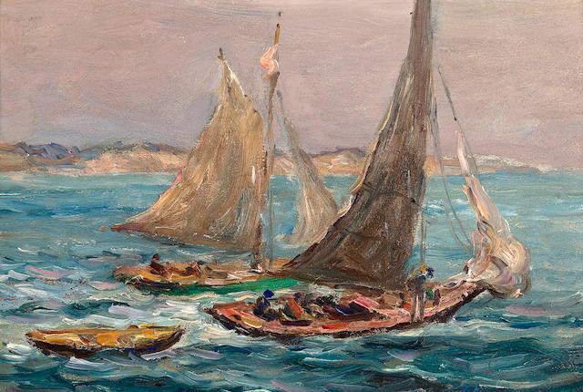 (n/a) Reynolds Beal (American, 1867-1951) Starting out, Rockport harbor; Boat battling waves: (2) each 6 1/4 x 9 3/8in