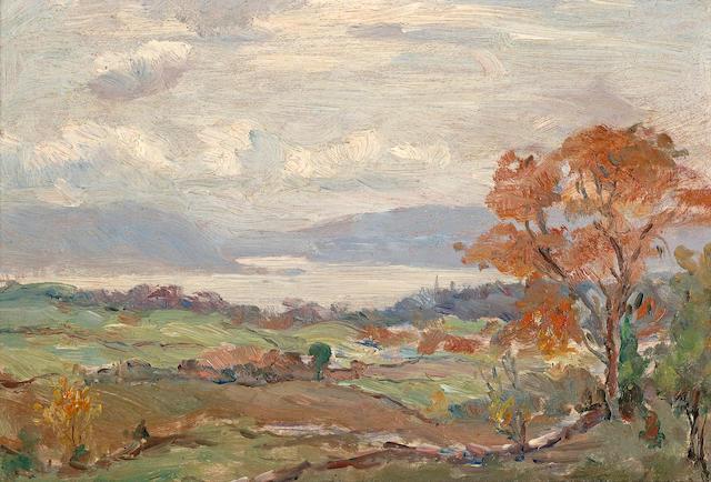 (n/a) Reynolds Beal (American, 1867-1951) Newburg Landscape, 1906 6 1/2 x 9 3/8in