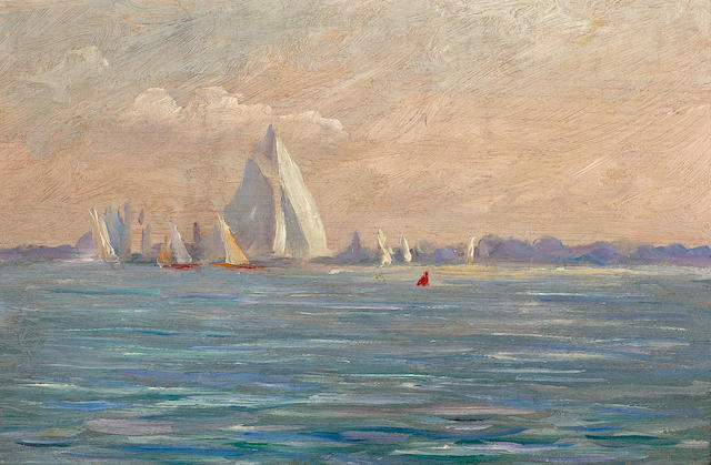 (n/a) Reynolds Beal (American, 1867-1951) Off New Rochelle 6 x 9in