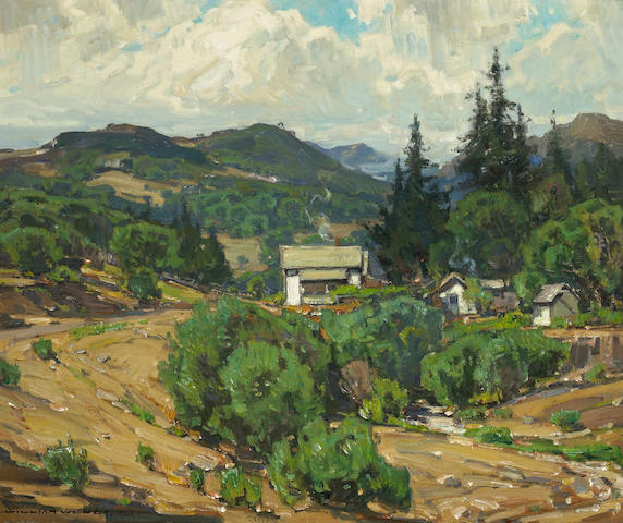 (n/a) William Wendt (American, 1865-1946) Houses in the mountains (resort), 1926 25 x 30 1/4in