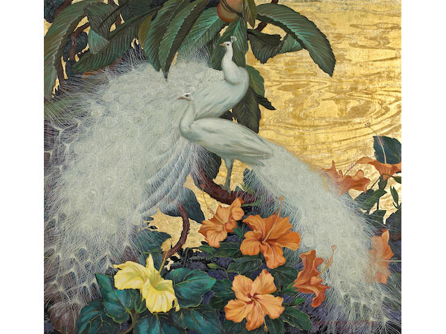 (n/a) Jessie Arms Botke (American, 1883-1971) White peacocks and hibiscus 28 x 30in