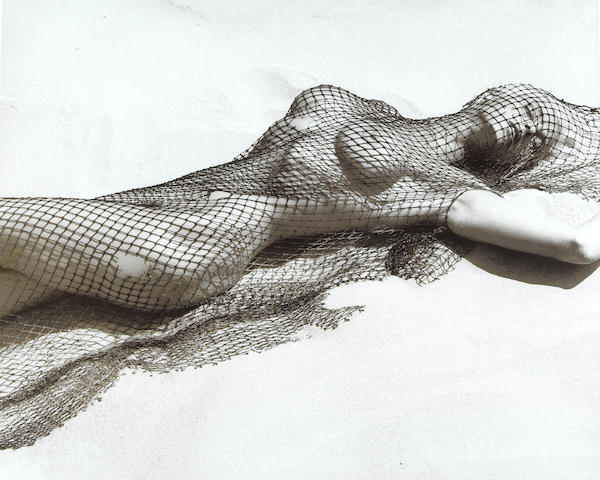 Herb Ritts Brigitte Nielsen with netting Malibu 1987 toned gelatin silver print ed. 25 3 APs;