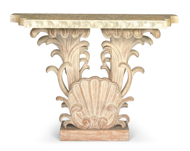 A carved limed wood and shell console 1940s