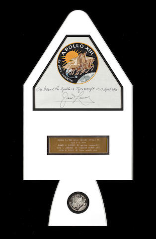 LOVELL SIGNED BETA EMBLEM CARRIED ON APOLLO 13.