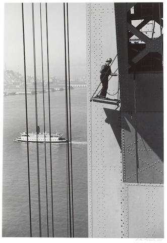 Peter Stackpole (American, 1913-1997); Tower with cable saddles in place...; (3)