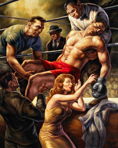 Owen Smith (American, 20th century) Untitled (T.K.O.), oil on masonite 60 x 48in
