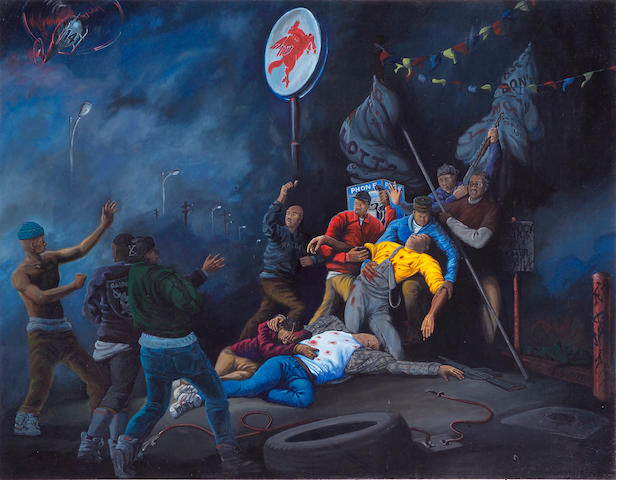 Sandow Birk (American, born 1962) Murder at Mobil, 1991, acrylic on canvas 53 x 68in