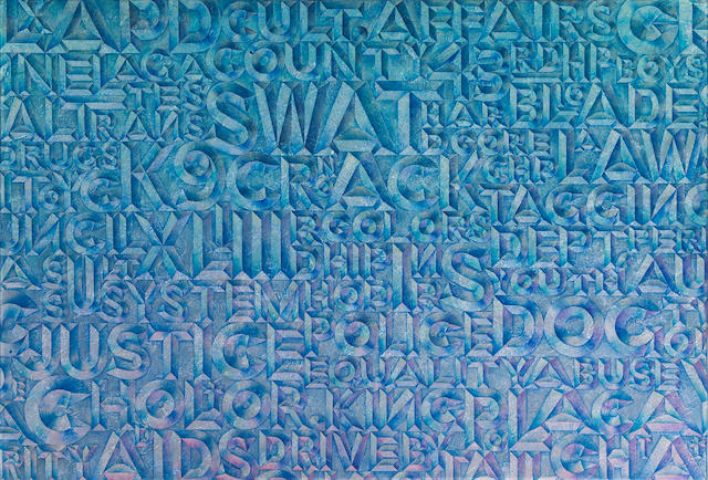 Chaz Bojorquez (American, born 1949), Untitled (Words), mixed media on canvas, 63 x 92in