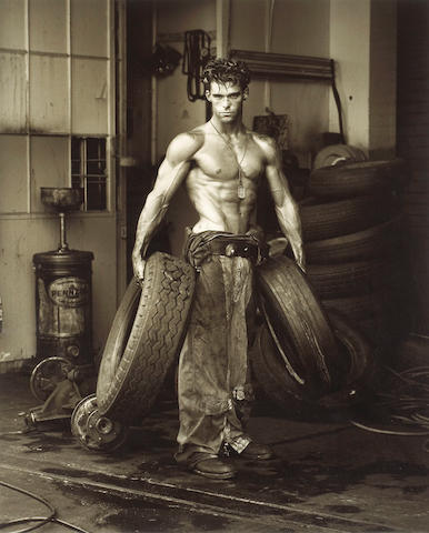 Herb Ritts (American, 1952-2002); Fred with Tires, from The Body Shop series;