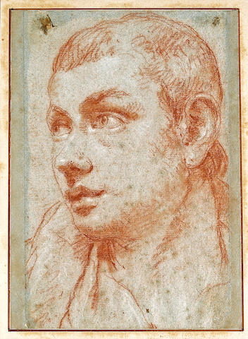 (n/a) Giovanni Battista Tiepolo (Italian, 1696-1770) The head of a boy, turned half left 10 3/4 x 7 3/4in (27.5 x 19.6cm) (strips of paper added on all four sides, with a line in ink)
