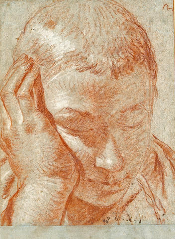 (n/a) Giovanni Battista Tiepolo (Italian, 1696-1770) The head of a boy, his right hand to cheek 10 3/4 x 7 3/4in (27.3 x 19.1cm)
