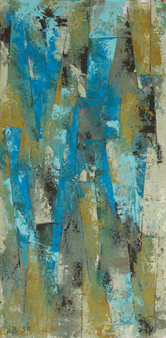(n/a) Karl Stanley Benjamin (American, born 1925) Blue Ochre, 1958 16 x 8in