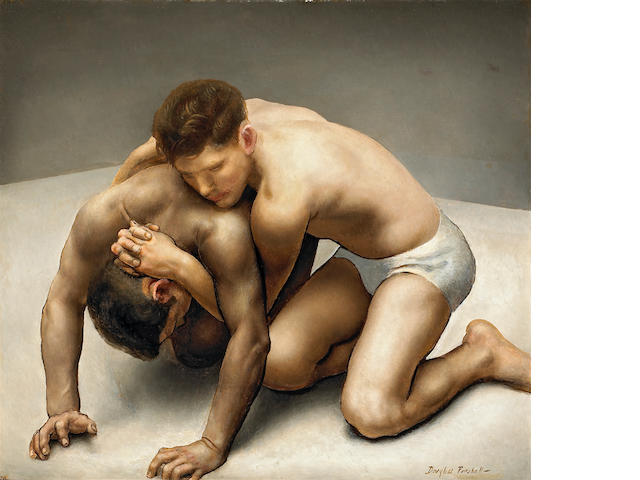 Douglass Ewell Parshall (American, 1899-1990) Wrestlers 30 x 36in