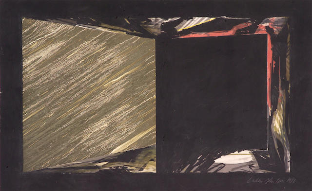 Laddie John Dill, Untitled, 1981, mixed media on paper board, unframed