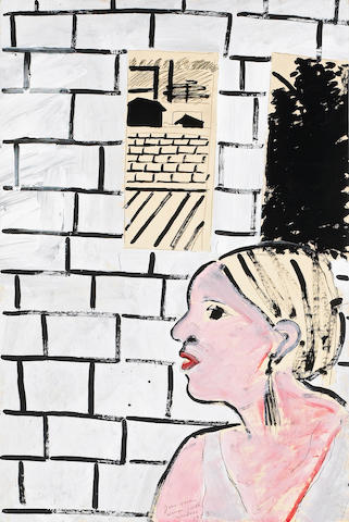 Joan Brown (American, 1938-1991) Woman with Windows, 1973 36 x 24in