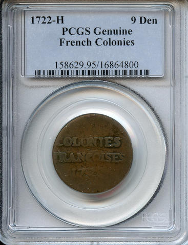 1722-H French Colonies 9 Deniers Genuine, Scratched PCGS