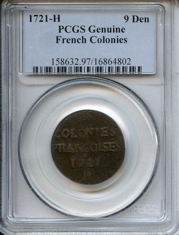1721-H French Colonies 9 Deniers Genuine, Environmental Damage PCGS