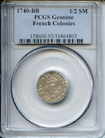 1740-BB French Colonies ½ Sou Marque Genuine, Cleaned PCGS