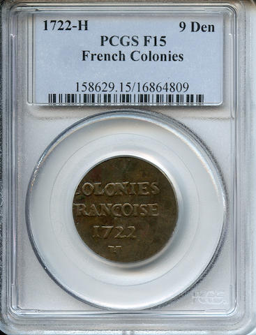 1722-H French Colonies 9 Deniers Fine 15 PCGS