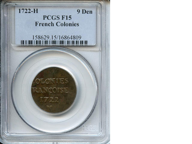 1722-H 9 Den F15 PCGS French Colonies