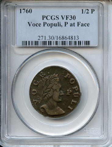 1760 Voce Populi, P in Front of Face VF30 PCGS