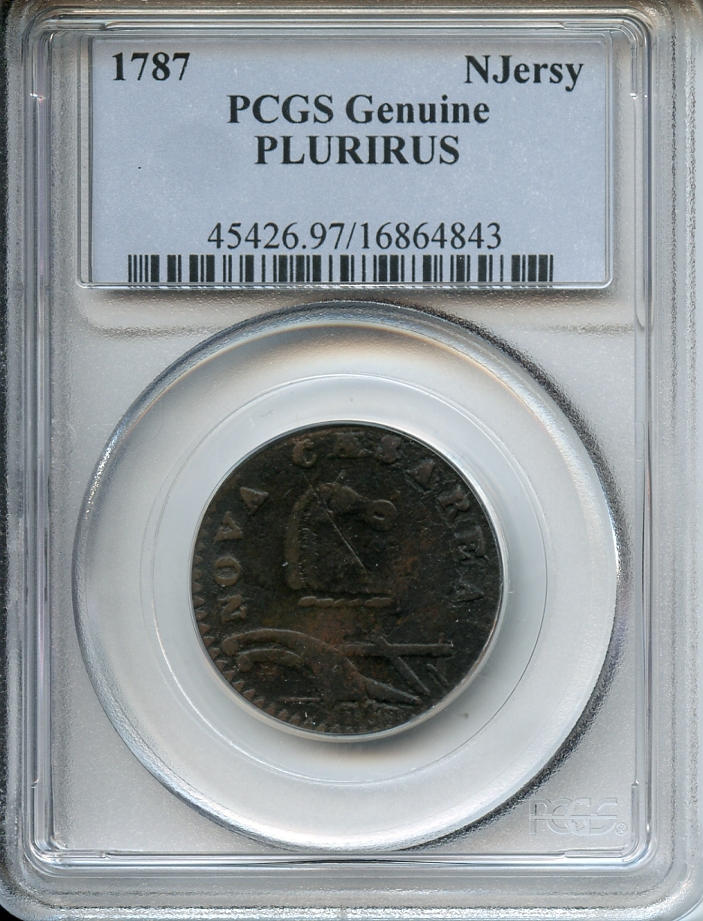 1788 New Jersey Copper, Large Planchet, Plain Shield, PLURIRUS Genuine, Environmental Damage PCGS