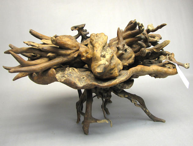 A group of burl wood vegetable and fruit models