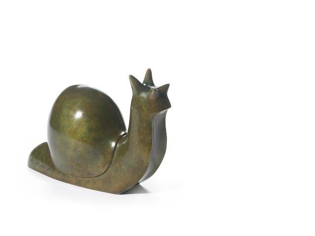 Beniamino Benevenuto Bufano (Italian/American, 1898-1970) Snail 6 1/2 x 9 1/2 x 4in