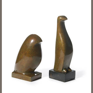 Beniamino Benevenuto Bufano (Italian/American, 1898-1970) Bird; Penguin (2) first 5 3/4 x 2 x 4in . second 7 3/4 x 2 x 2 1/2in