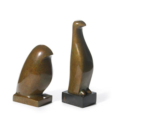 Beniamino Benevenuto Bufano (Italian/American, 1898-1970) Bird; Penguin (2) first 5 3/4 x 2 x 4in <br>second 7 3/4 x 2 x 2 1/2in
