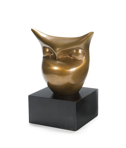 Beniamino Benevenuto Bufano (Italian/American, 1898-1970) Owl 6 3/4 x 7 1/2 x 4 3/4in <br>height with base 9 3/4in