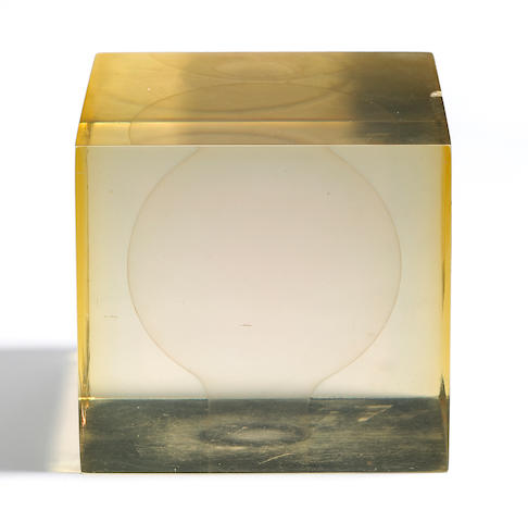 Peter Alexander (American, born 1939) Clear Cube with Sphere, 1967 4 x 4 x 4in