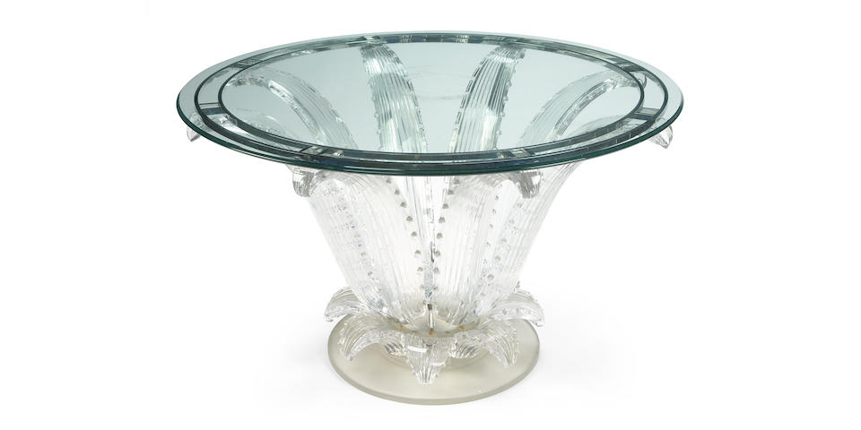 A Marc Lalique molded and frosted glass Cactus center table designed circa 1951