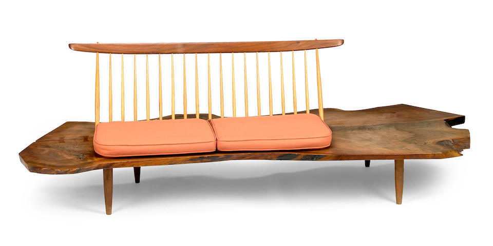 George Nakashima (American, 1905-1990) Conoid Bench with Back